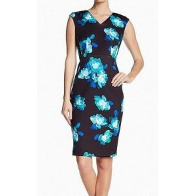 Calvin Klein カルバンクライン ファッション ドレス Calvin Klein Womens Blue Floral Print Black Size 6 Sheath Dress