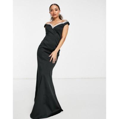 ゴディバ ミディドレス レディース Goddiva embellished bardot fishtail maxi dress in black  エイソス ASOS sale ブラック 黒