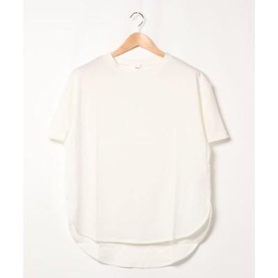 tシャツ Tシャツ 裾ラウンド半袖カットプルオーバー*
