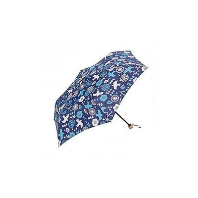 because(ビコーズ) レディース 晴雨兼用 遮蔽率95%以上 PUサニー&バード ミニ 47cm 折りたたみ傘 (ネイビー)
