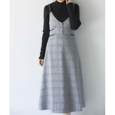 tocco closet / ウエストりぼん付きフェイクレザー×チェック柄ジャンパースカート WOMEN ワンピース > ワンピース