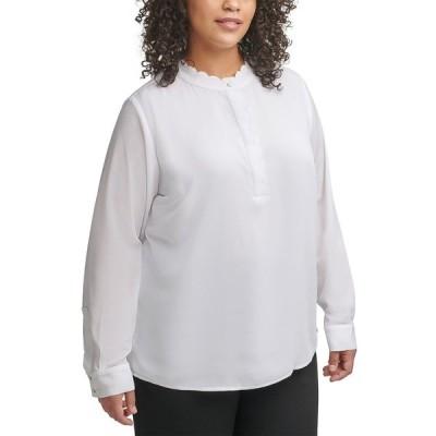 カルバンクライン カットソー トップス レディース Plus Size Scalloped-Neck Top White Multi