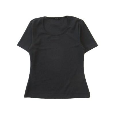 【中古】美品 インゲボルグ INGEBORG ピンクハウス ロゴ 刺繍 Tシャツ カットソー 半袖 ストレッチ 丸首 P029LUAL49 B サイズM 黒 ♪2 【ベクトル 古着】
