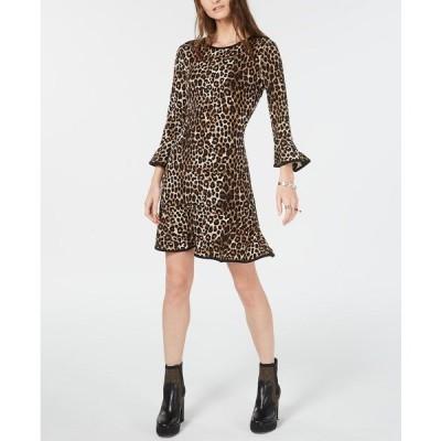 マイケルコース ワンピース トップス レディース Leopard Print Bell-Sleeve Dress, Regular & Petite Sizes Leopard
