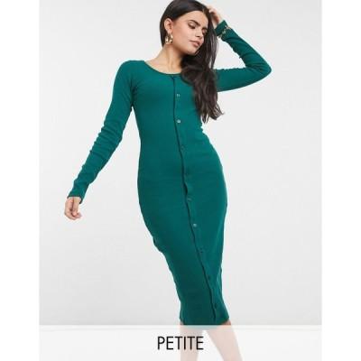 アウトレイジャスフォーチュン ミディドレス レディース Outrageous Fortune Petite exclusive long sleeve button detail midi dress in emerald green エイソ