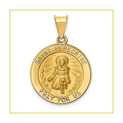 イエロー ゴールド St Peregrine Medal ペンダント Charm ネックレス Religious Patron Saint Fine Jewelry