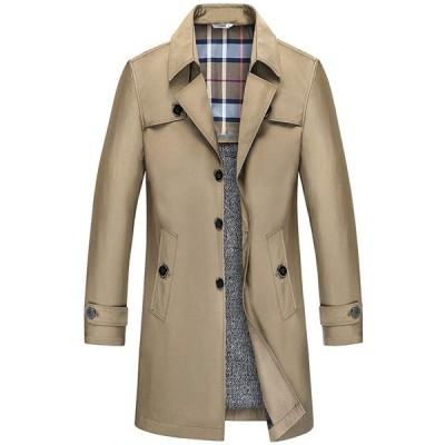 CARETOO コート メンズ ロング ジャケットトレンチコート スタイリッシュ ボタン シンプル ビジネス ロング アウター 春秋 防寒 防風