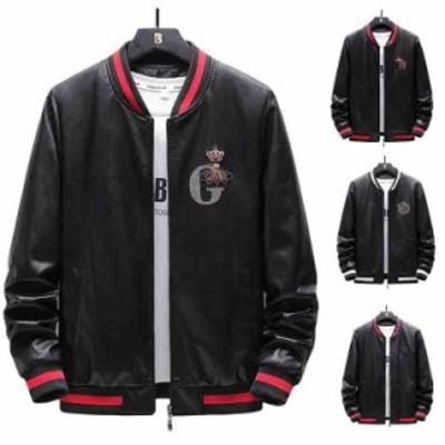 新作 レザーコート メンズ ラムレザー 革ジャン 革コート 野球着 ゆったり おしゃれ 快適  刺繍 PUジャケット M--5XL
