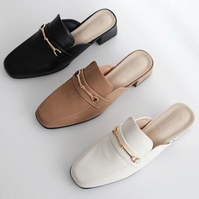 ローファー ミュール バブーシュ チャンキーヒール ビット モチーフ レディース おじ靴 革靴 黒 白 茶色 ブラック ホワイト ブラウン サンダル 婦人靴