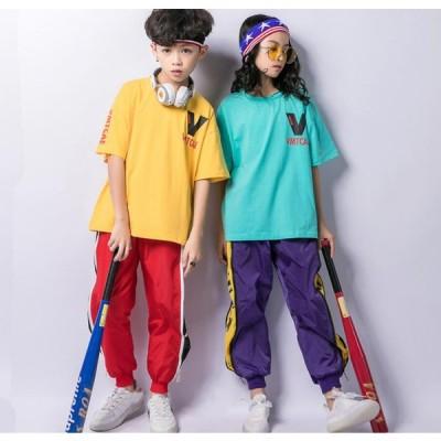 HIPHOP キッズ ダンス衣装 ヒップホップ ダンス衣装 子供服 Tシャツ パンツ 半袖 上下セット 女の子 男の子 体操服