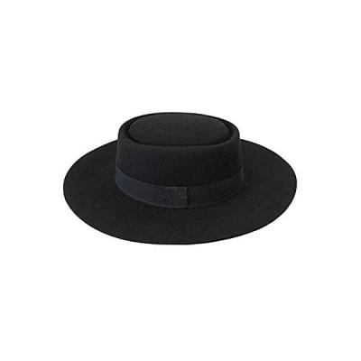 (つば広フェルト)Lovable フェルトハット Porkpie Flat Hat 秋冬 レディース ブラック