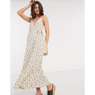 エイソス レディース ワンピース トップス ASOS DESIGN cami wrap maxi dress in linen with wicker belt in spot