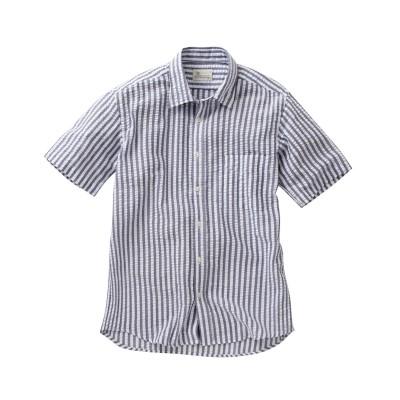 CANTERBURY WOOD(カンタベリーウッド)サッカーストライプ柄半袖カジュアルシャツ カジュアルシャツ, Shirts, テレワーク, 在宅, リモート