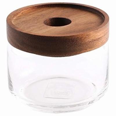 Chabatree 保存容器 ガラス製 325ml グラスジャー 約直径9×高さ7.5cm パッキン付き アカシア木蓋 ST-006