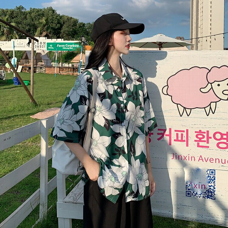 實拍韓版新款襯衣夏印花心機上衣bf潮酷復古V領chic港風直筒