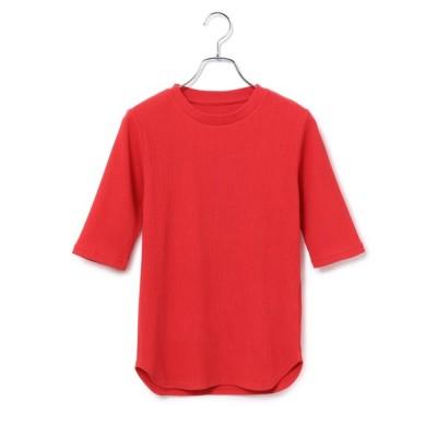 ADAM ET ROPE' / 【アウトレット店舗・WEB限定】プリーツリブ5分袖プルオーバー WOMEN トップス > Tシャツ/カットソー
