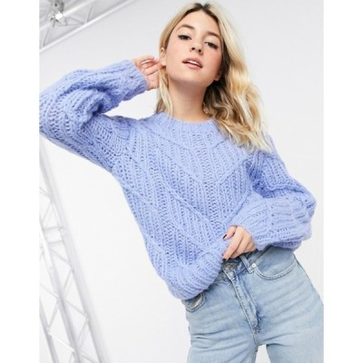 オブジェクト レディース ニット・セーター アウター Object hand knit wool cable knit sweater in blue