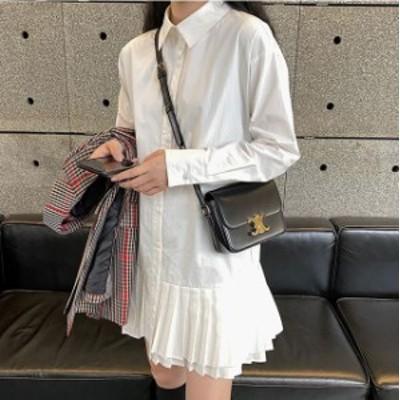 ティアードワンピース 韓国 ファッション レディース シャツワンピース シャツワンピ フレア リボン 長袖 ゆったり ショート プリーツ