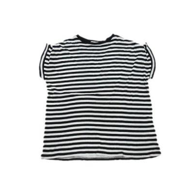 【中古】エンフォルド ENFOLD Tシャツ カットソー ボーダー 半袖 38 黒 ブラック 白 ホワイト/10▼10 レディース 【ベクトル 古着】