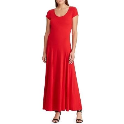 ラルフローレン レディース ワンピース トップス Cotton Blend Cap Sleeve Scoop Neck Drop Waist Maxi Dress Lipstick Red