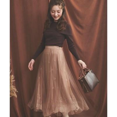 スカート 刺繍レーススカート