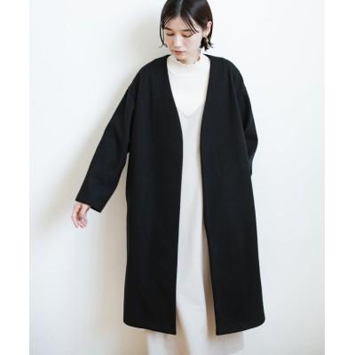 (haco!/ハコ)気軽に羽織れて女っぽくもかっこよく決まる!便利なノーカラーコート/レディース ブラック
