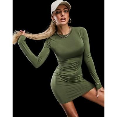 アズユー AsYou レディース ワンピース Tシャツワンピース シャツワンピース ワンピース・ドレス ASYOU long sleeve t-shirt dress in khaki カーキ