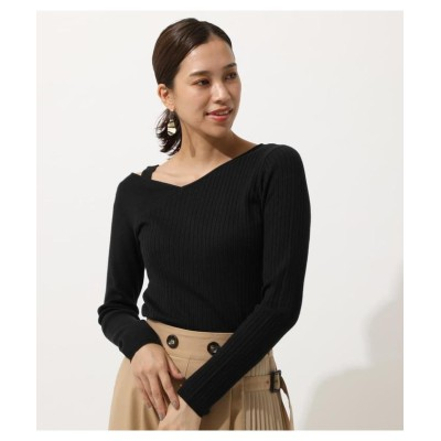 (AZUL by moussy/アズールバイマウジー)SHOULDER STRAP KNIT TOPS/レディース BLK