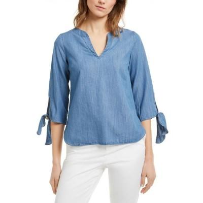 マイケル コース Michael Kors レディース トップス Tie-Sleeve Top, Regular & Petite Sizes Indigo