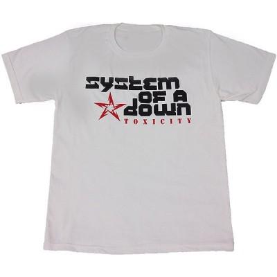 System of a Down/システム・オブ・ア・ダウン バンドロゴ プリントTシャツ ホワイト 男女兼用