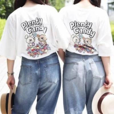 レディース ファッション オーバーサイズトップス 韓国 人気 Tシャツ Plenty Candy プリントTシャツ