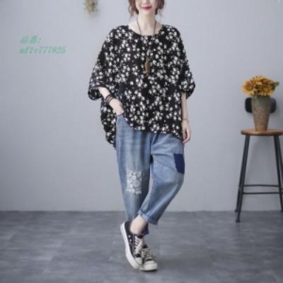 トップス シャツ Tシャツ 大きいサイズ ドルマンスブ 花柄 春 シフォン 薄手 着痩せ 7分袖 カジュアル 夏 花柄シャツ 体型カバー ゆった