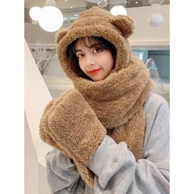 ニット帽子とマフラーが一体 韓国風 ネックウォーマー レディース スヌードマスク マフラー 防寒 暖か マスク帽子 帽子付き アニマル ク
