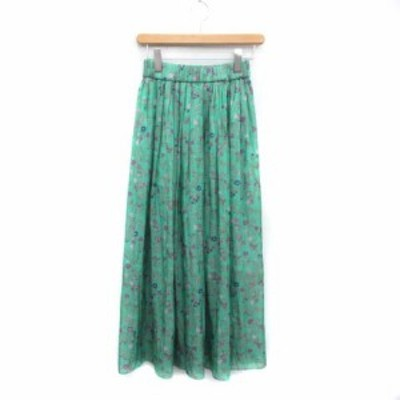 【中古】ノーリーズ Nolley's スカート ロング ミモレ丈 花柄 36 S 緑 グリーン /NM レディース