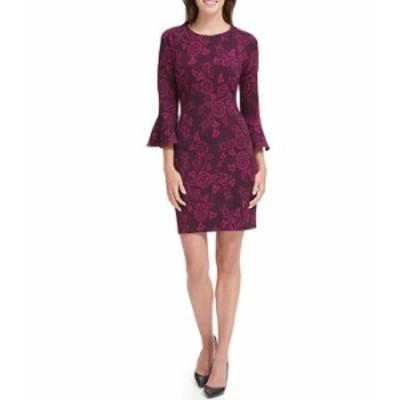 トミー ヒルフィガー レディース ワンピース トップス Scuba Crepe Floral Print 3/4 Bell Sleeve Sheath Dress Aubergine/Magenta
