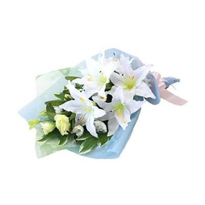 山久 造花 仏様のお供えに カサブランカ や トルコキキョウ の大きめな 花束 1007-668 CT触媒加工 シルクフラワー 仏花 お彼岸