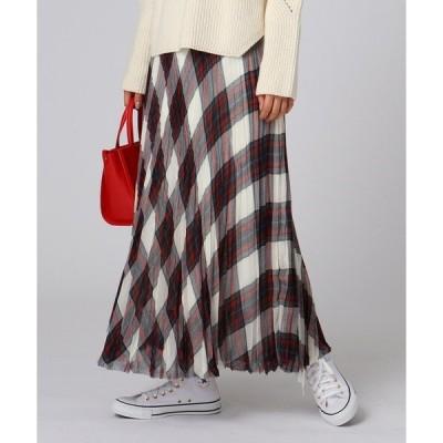 スカート ボイルチェックプリーツスカート