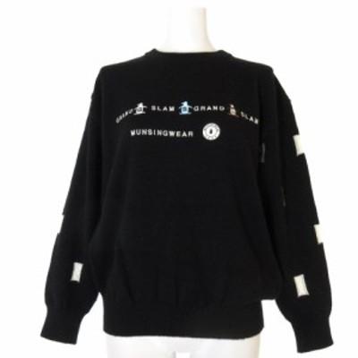 【中古】マンシングウェア ニット セーター 長袖  プルオーバー ロゴ 刺繍 ウール 黒 ブラック M トップス レディース
