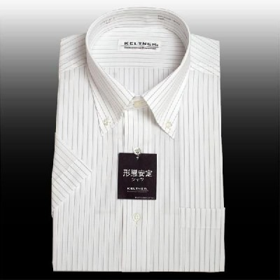 KELTNER形態安定ワイシャツ (半袖) ボタンダウン ストライプ