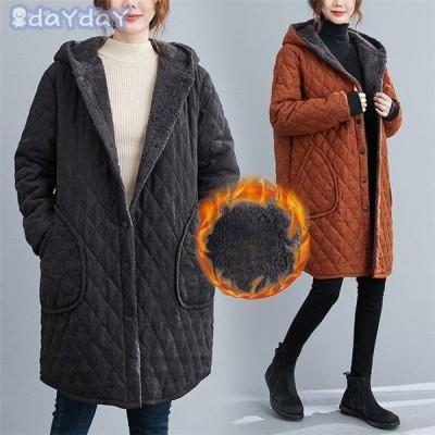コート レディース ムートンコート フード付き キルティング ボアコート フェイクファー オーバーコート 大きいサイズ 暖かい アウター 冬物 きれいめ 40代