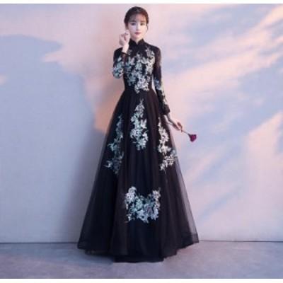 Pd455【20%OFF】ドレス ロング 長袖  パーティー  刺繍  ウェディング  シフォン  レース きれい  大人 大き