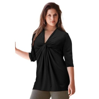 レディース 衣類 トップス ellos Women's Plus Size Twisted Knot-Front Tunic ブラウス&シャツ