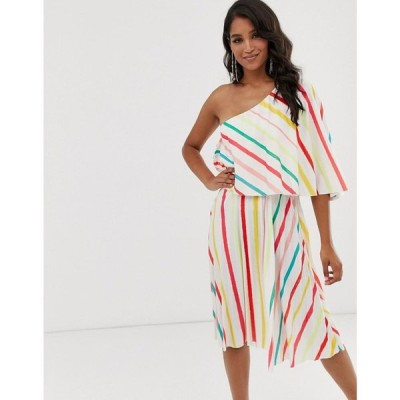 エイソス ASOS DESIGN レディース ワンピース ワンピース・ドレス Striped One Shoulder Pleated Crop Top Midi Dress マルチカラー