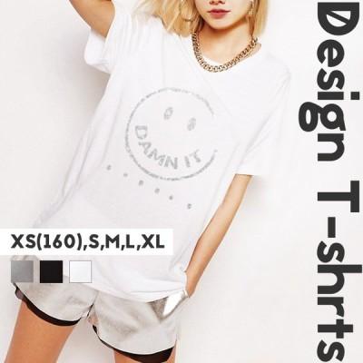 Tシャツ レディース 半袖 新作 男女兼用 メンズ ペア カップル XS S M L XL XXL ロゴ プリント ニコちゃん スマイリー グリッター