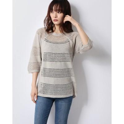 ベルーナ BELLUNA 麻混素材透かし編みサマーセーター (ベージュ)