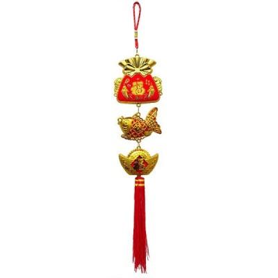 金赤福巾着吊り飾り 魚 60cm(春節飾り)