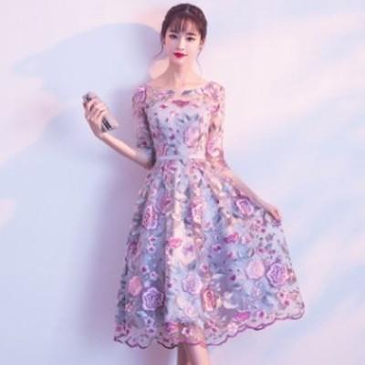 2020年新作 送料無料 韓国 ワンピース ドレス レディース 花柄 刺繍 ラウンドネック 五分袖 ウエストリボン フェミニン 上品 ミモレ丈 結