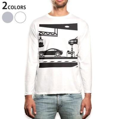ロングTシャツ メンズ 長袖 ホワイト グレー XS S M L XL 2XL Tシャツ ティーシャツ T shirt long sleeve  乗り物 車 モノクロ 010311
