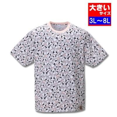 大きいサイズ メンズ クレヨンしんちゃん 総柄プリント半袖Tシャツ 3L 4L 5L 6L 8L