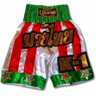 新品 サテン 102 LUMPINI ボクシング パンツ S/M/L/XL 選択 K1緑赤白ストライプ /ムエタイ/トランクス/通販/大人/キッズ/ジュニア/子供